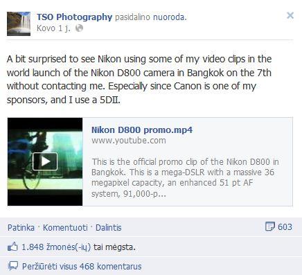 """Lietuviškas vertimas""""Aš nustebintas pamatęs, jog Nikon D800 pasaulinėje  prezetacijoje naudojami mano vaizdo klipo ištrauka nesusisiekusi prieš tai su manimi. Ypač žinant tą faktą, jog Canon yra vienas iš mano rėmėjų, o aš naudoju 5DII."""""""